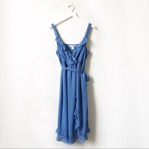 Motherhood Maternity   Blue Faux Wrap Ruffle Dress